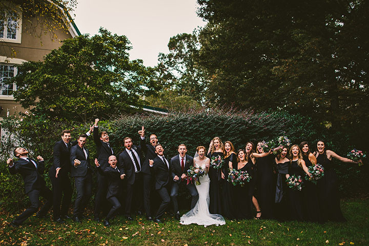 Chattanooga, TN wedding party celebrates at Walnut Hill Farm