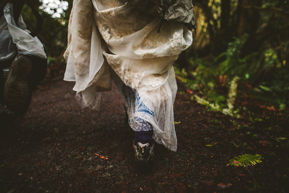 Wedding hike through the Redwood National Forest