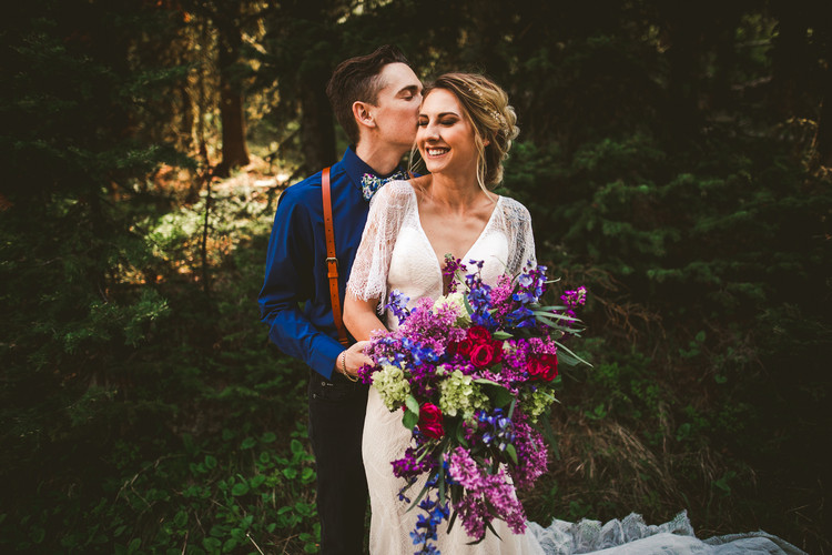 Jewel toned elopement in Hyaliate Canyon
