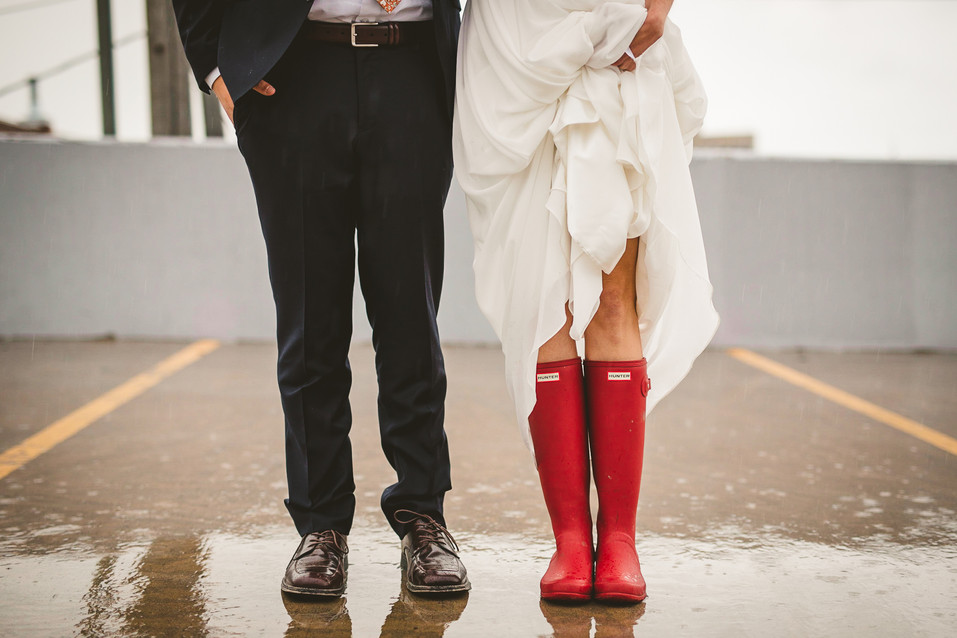 Rainy elopement at the Bozeman parking garage