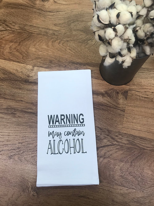 TEA TOWEL- WARNING ALCOHOL