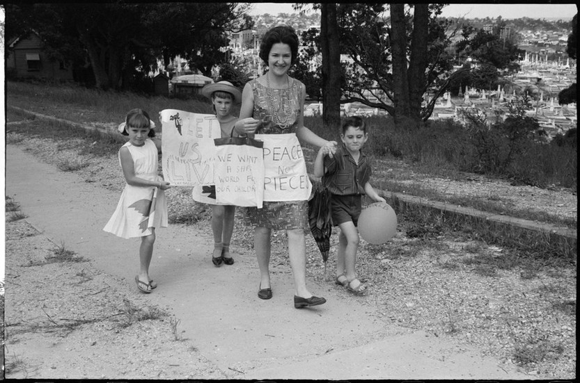 Woman with children, Aldermaston Peace March, Brisbane, 1964