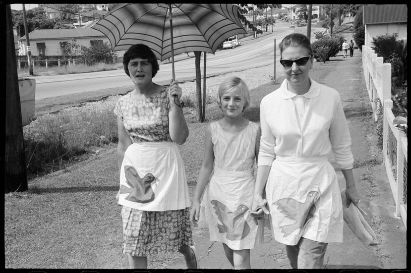 Two women and girl during Aldermaston Peace March, Brisbane, 1964