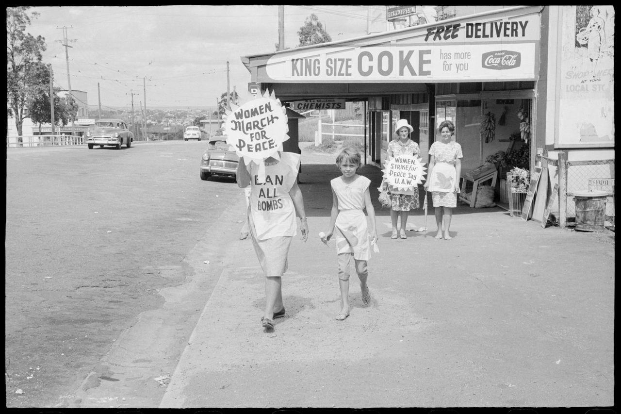 Three women and girl, Aldermaston Peace March, Brisbane, 1964