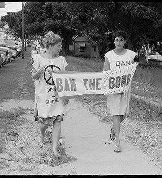Women with banner during Aldermaston Pea