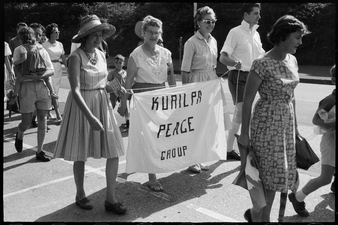 Women from Kurilpa Peace Group during Aldermaston Peace March, Brisbane, 1964