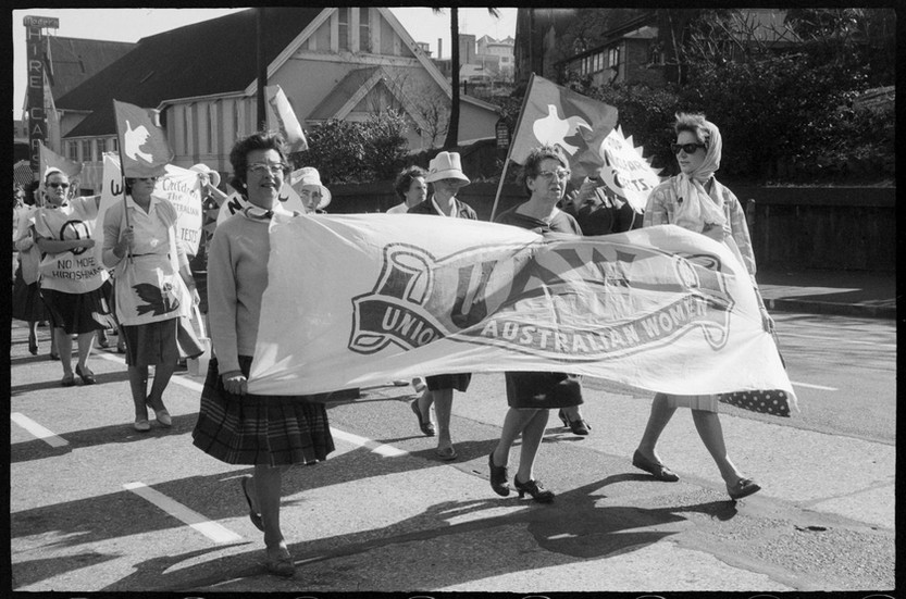 Members of the Union of Australian Women in Hiroshima Day procession, Brisbane, 1964