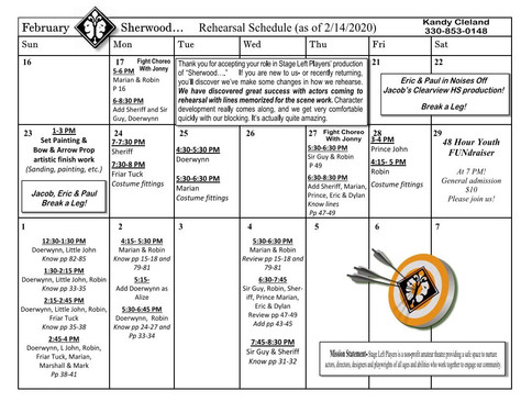 Sherwood Rehearsal/Design Calendar