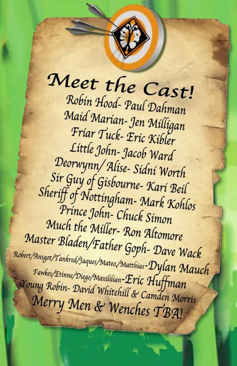 """Congrats to the Cast of """"Sherwood, the Adventures of Robin Hood""""!"""