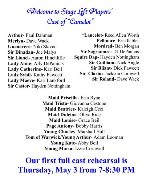 "Welcome Cast of ""Camelot""!"