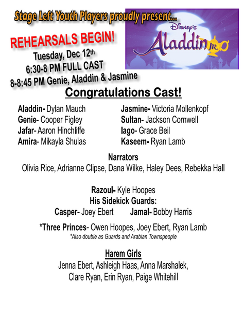 Stage Left Youth Players Cast of Aladdin Jr! Congratulations!