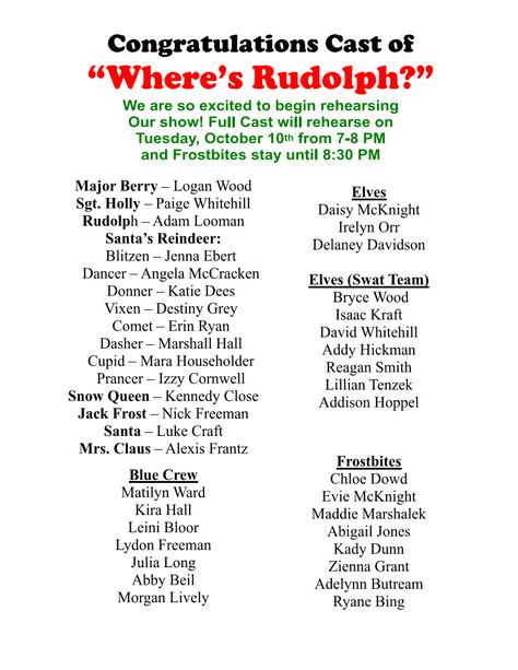 "Congratulations Cast of ""Where's Rudoph?"""
