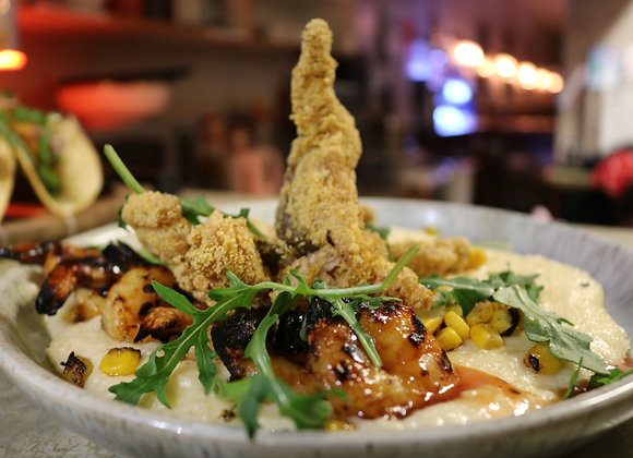 Cajun Fried Fish, Shrimp and Grits