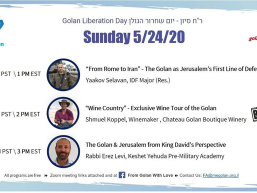 SUNDAY: Free Online Seminar on the Golan Heights