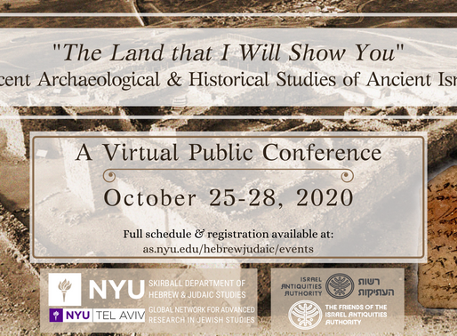 Online New Discoveries in Israel Archaeology Conference Starts Today