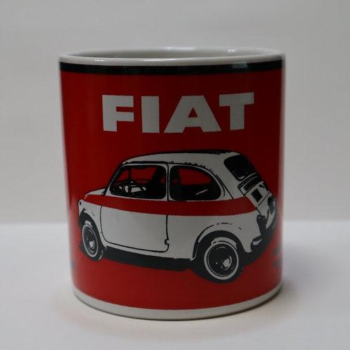 Fiat 500 Red Ceramic Mug White Fiat