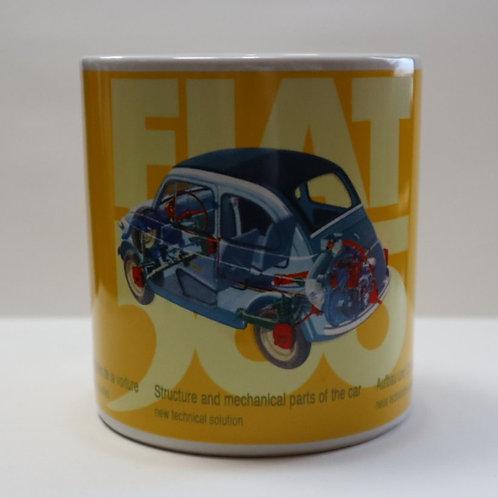 Fiat 500 Yellow Spaccato Ceramic Mug Blue Fiat