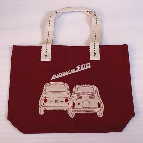 Fiat 500 Nuova Red Canvas Shoulder Bag White Fiat