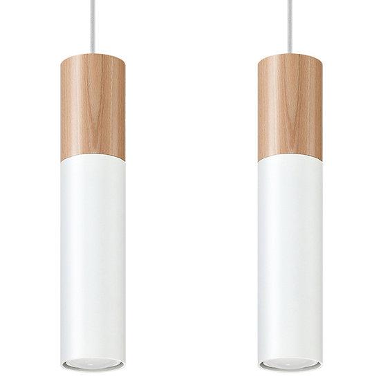Suspension LED 'Dolignon'Blanc/Bois IP20 2 xGU10 Sans Ampoule