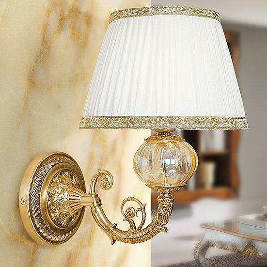 Applique Murale LED'BellouenHoulme' Bronze/Verre - Abat Jour Textile