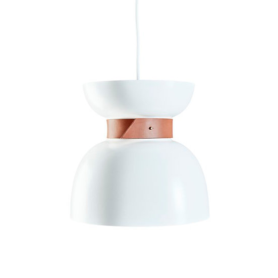 Suspension LED 'Gomiécourt' Blanc/Cuir 1 x E27