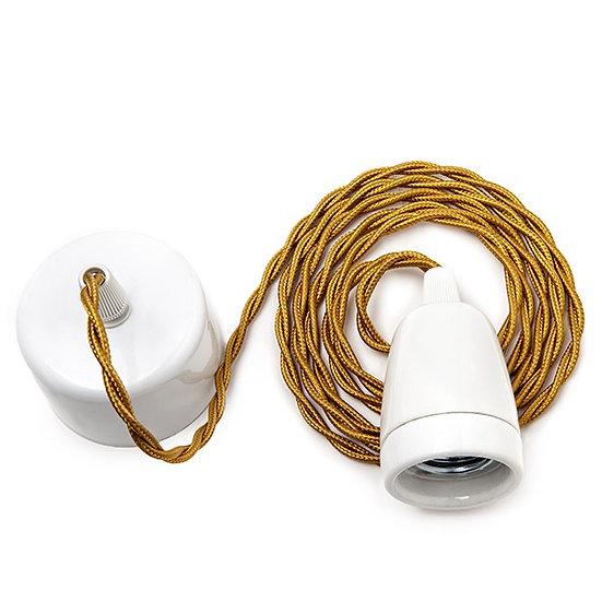 Suspension LED E27'Beaucameux' Câble 1800 mm Whisky 2 X 0.75 Porcelaine