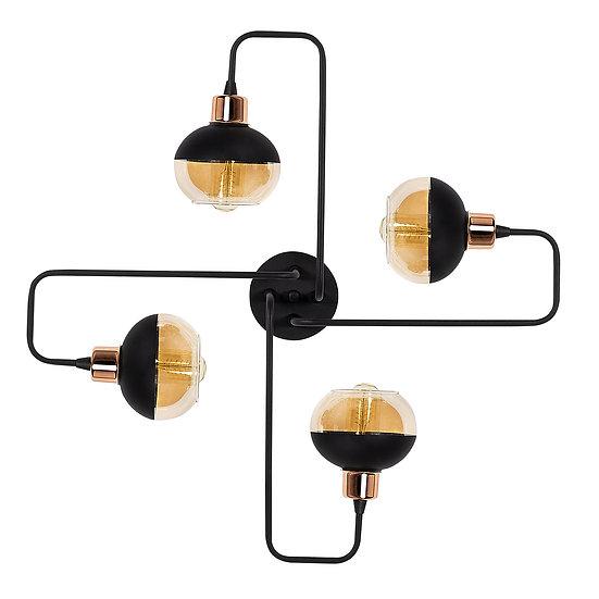 Suspension LED 'Géronce'Noir/Cuivre 4 x E27