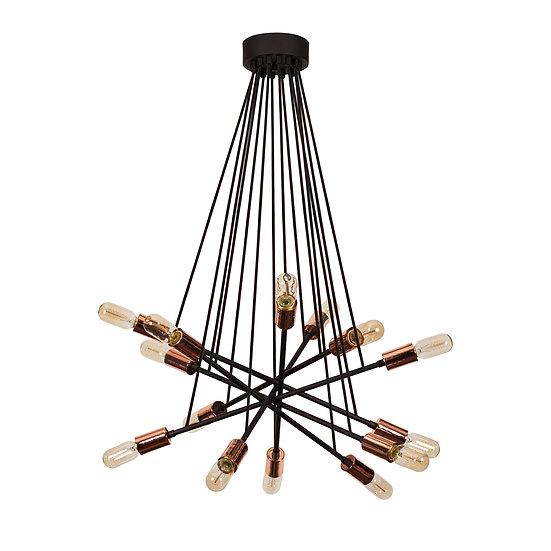 Suspension LED 'Castagnac'Noir/Cuivre 4 x E27