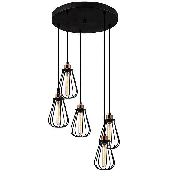 Suspension LED 'Cazaunous' Noir 5 x E27