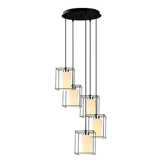 Suspension LED 'Coublucq 05'Noir 5 x E27
