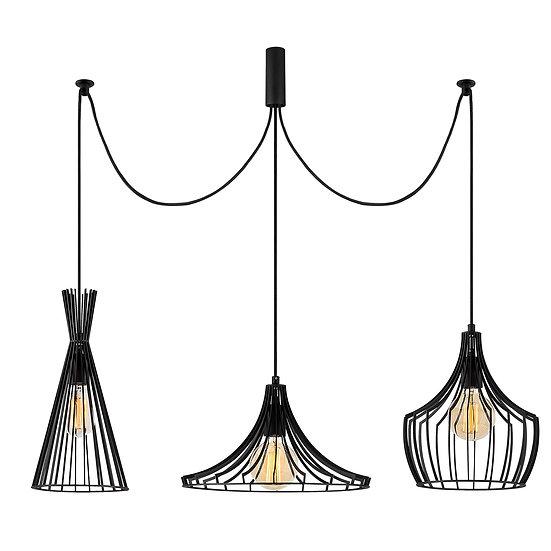 Suspension LED 'Castelmaurou'Noir 3 x E27