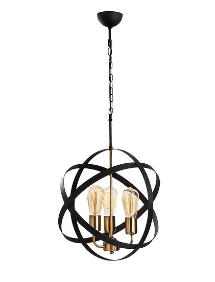 Suspension LED 'Guemps 4843'Vintage/Noir 3 xE27