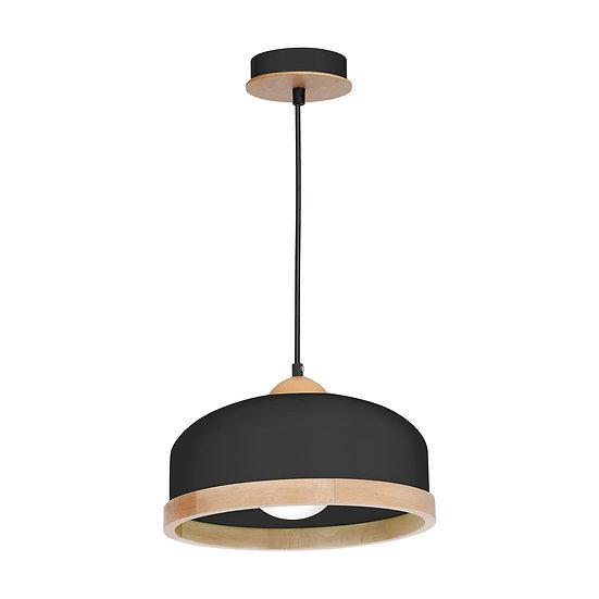Suspension LED 'Carnetin' 1 xE27 Métal +Bois Sans Ampoule