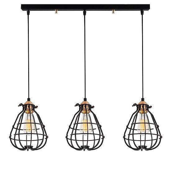 Suspension LED 'Burgaronne'Noir 3 x E27
