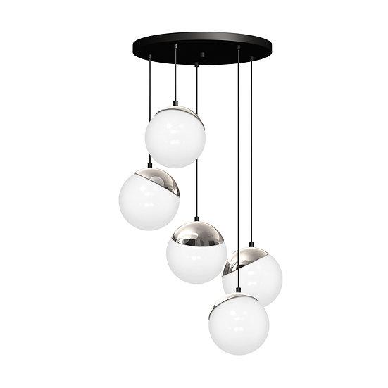 Suspension LED 'CannesÉcluse' 5 xE14 Métal +Verre Sans Ampoule