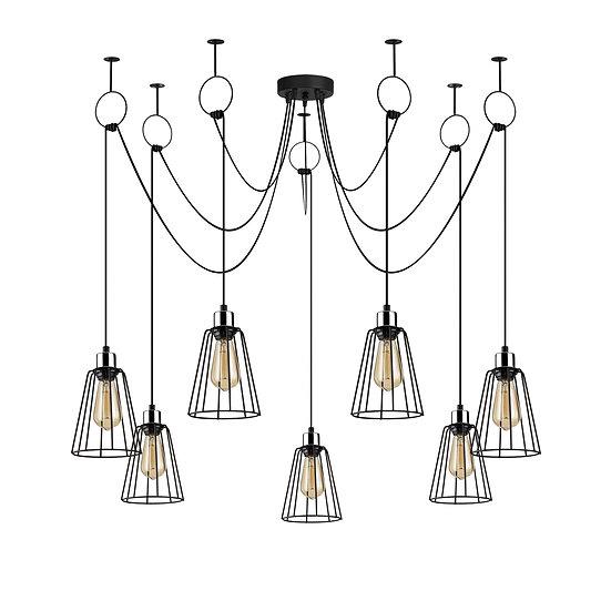 Suspension LED 'Hectomare'11 Noir 7 x E27