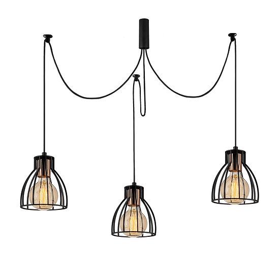 Suspension LED 'Cathervielle'Noir 3 x E27