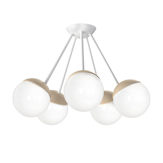 Suspension LED 'CannesÉcluse' 5 xE14 Métal + Bois + Verre Sans Ampoule