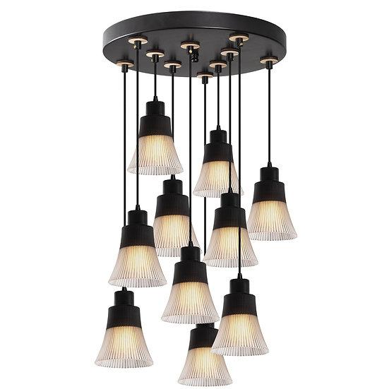 Suspension LED 'Etsaut'Noir 10 x E27