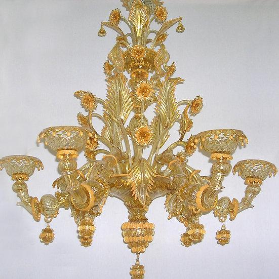 Suspension LED En Verre 'Murano' Fait Main'Labia-Burano'6 x E14