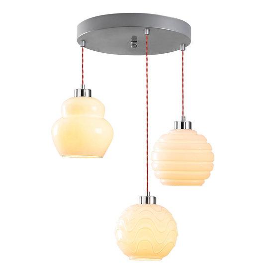 Suspension LED 'Goès 02'Argent 3 x E27
