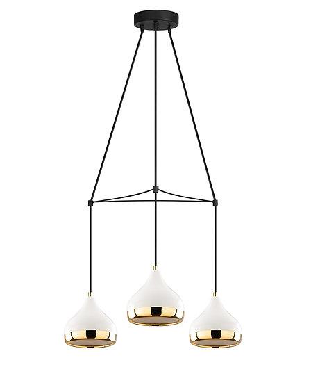 Suspension LED 'Haplincourt 82'Blanc/Noir/Or 3 xE27
