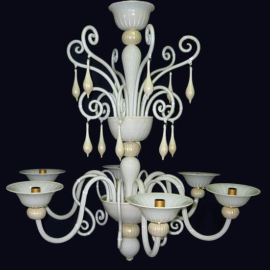 Suspension LED En Verre 'Murano' Fait Main'Riccio Bianco'6 x E14