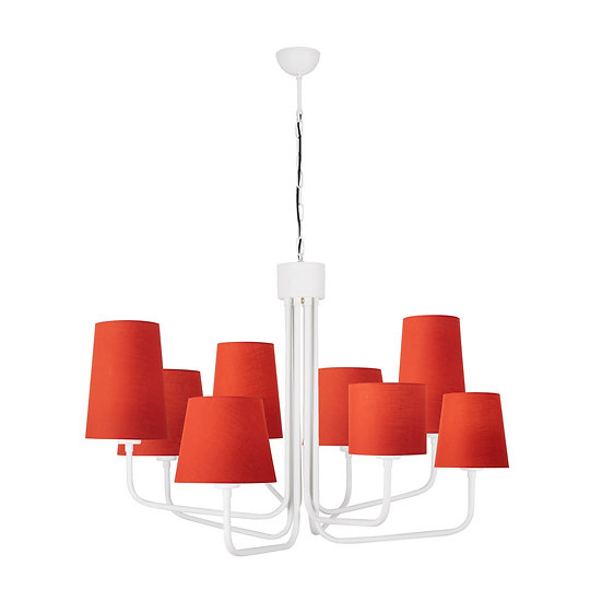 Suspension LED 'Gouves 3566' Blanc/Rouge 8 xE27