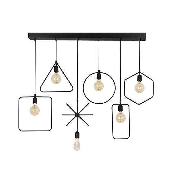 Suspension LED 'Cassagne' Noir 6 x E27