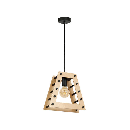 Suspension LED 'Brieux' 1 xE27 Métal + Bois Sans Ampoule