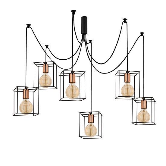 Suspension LED 'Caubous'Noir 6 x E27
