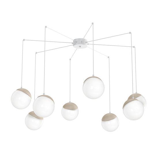 Suspension LED 'CannesÉcluse' 8x E14 Métal +Bois +Verre Sans Ampoule