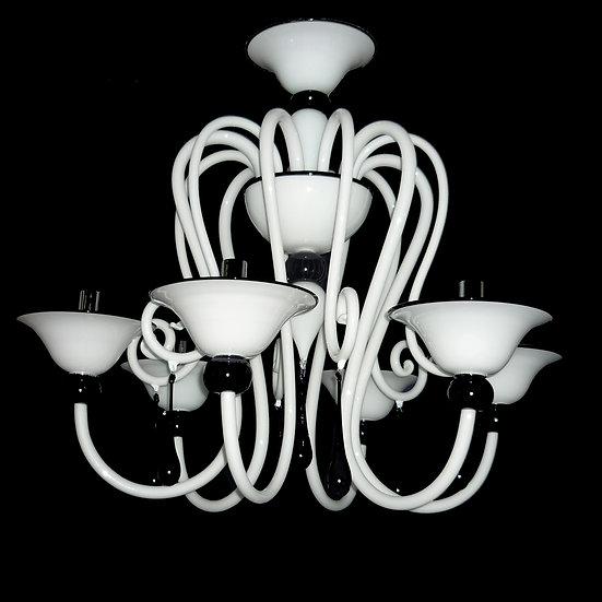 Suspension LED En Verre 'Murano' Fait Main'Bianco e Nero'6 x E14