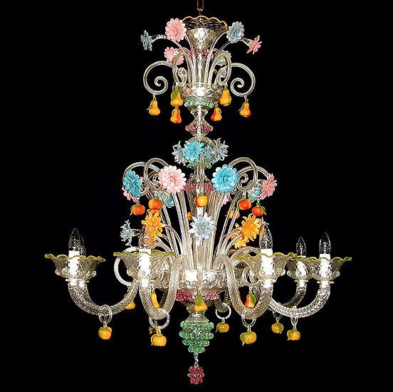 Suspension LED En Verre 'Murano' Fait Main'Pere e Mele' 12 xE14